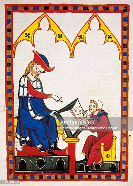Konrad von Wurzburg who died in 1287 dictates to a scribe Fol 383r Codex Manesse by Rudiger Manesse and his son Johannes University of Heidelberg...