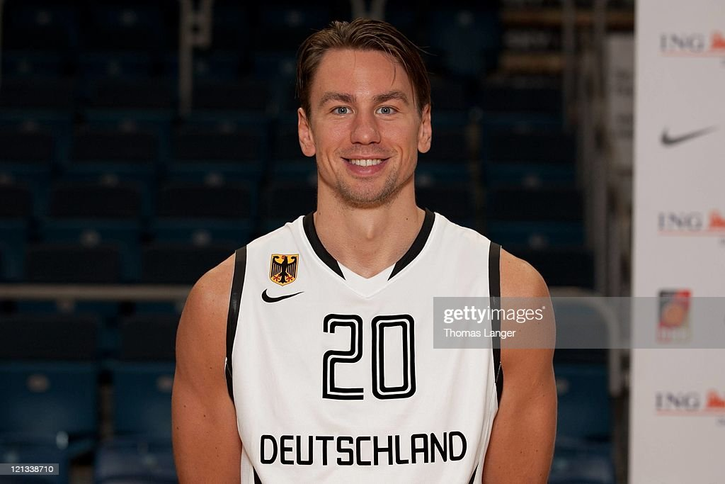 Konrad Wisocky of the German national basketball team poses during the team presentation at the Stechert-Arena on August 17, 2011 in Bamberg, Germany.