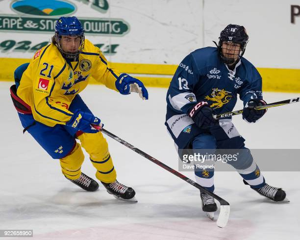 Konsta Hirvonen of the Finland Nationals follows the play in front of Jacob Olofsson of the Sweden Nationals during the 2018 Under18 Five Nations...