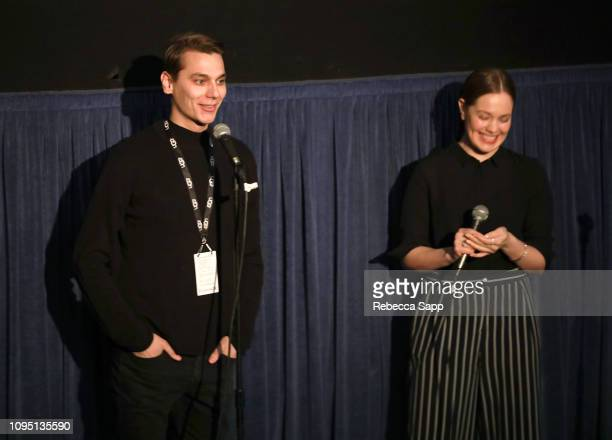 Konsta Laakso and Oona Airola of 'Land of Hope' speak at a screening of 'Land of Hope' during the 34th Santa Barbara International Film Festival at...