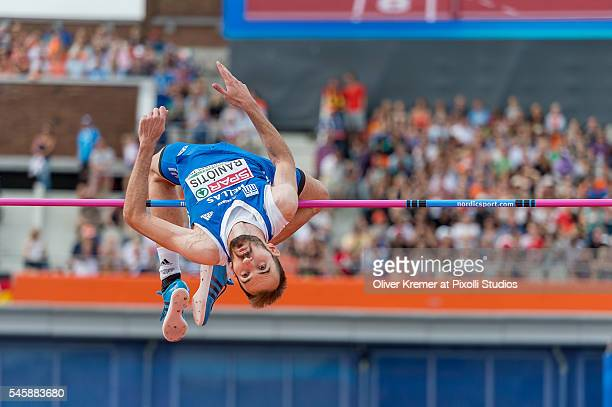 Konstadinos Baniotis of Greece at a good high during the men's high jump finals at the Olympic Stadium during Day Five of the 23rd European Athletics...