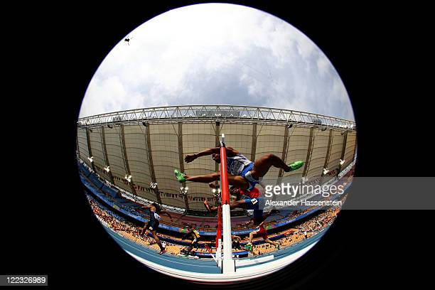 Konstadinos Douvalidis of Greece competes in the men's 110 metres hurdles heats during day two of the 13th IAAF World Athletics Championships at the...