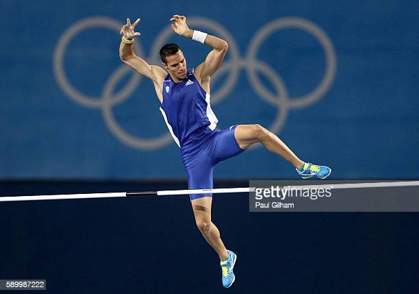 Konstadinos Filippidis of Greece competes in the Men's Pole Vault final on Day 10 of the Rio 2016 Olympic Games at the Olympic Stadium on August 15...