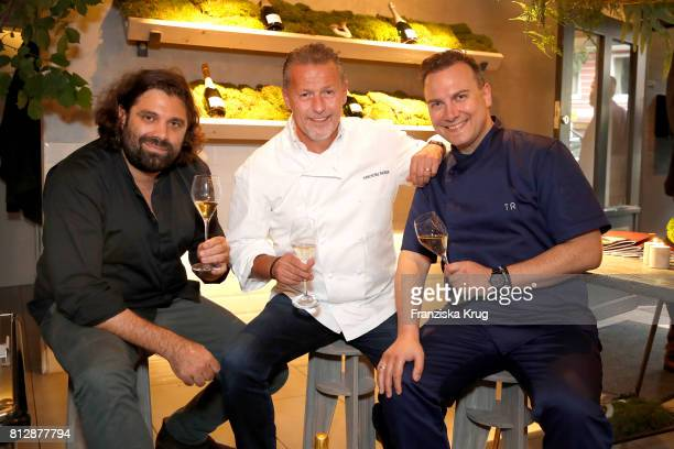 Konstantin Filippou KarlHeinz Hauser and Tim Raue attend the 'Krug Kiosk' Event on July 11 2017 in Hamburg Germany