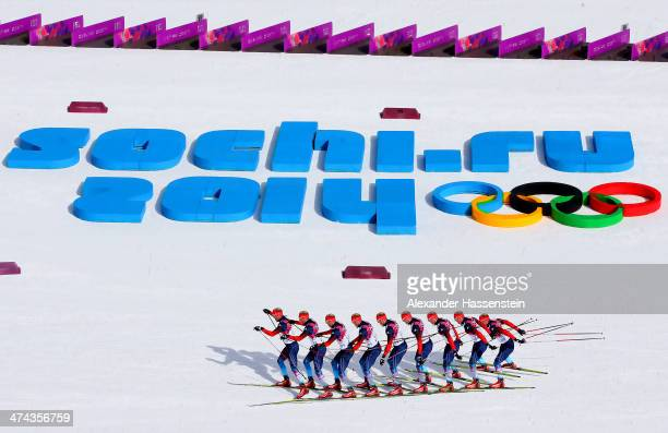 Konstantin Glavatskikh of Russia competes in the Men's 50 km Mass Start Free during day 16 of the Sochi 2014 Winter Olympics at Laura Cross-country...