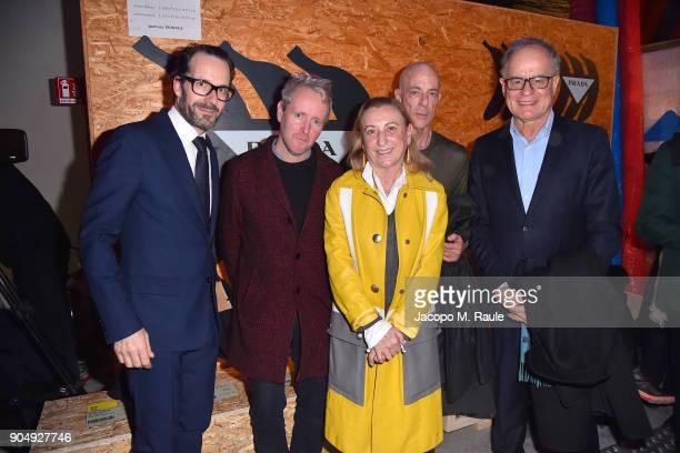 Konstantin Grcic Ronan Bouroullec Miuccia Prada Jacques Herzog and Pierre de Meuron attend Prada F/W 18 Men's Fashion Show on January 14 2018 in...