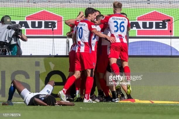 Konstantin Kerschbaumer of 1.FC Heidenheim 1846 celebrates after scoring his team's second goal with teammates during the Second Bundesliga match...