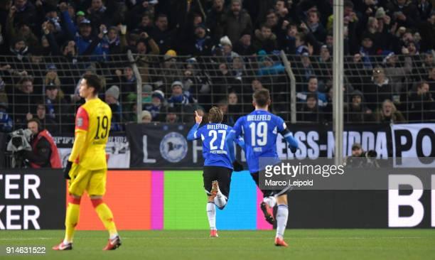 Konstantin Kerschbaumer of Arminia Bielefeld celebrates after scoring the 11 during the Second Bundesliga match between Arminia Bielefeld and Union...