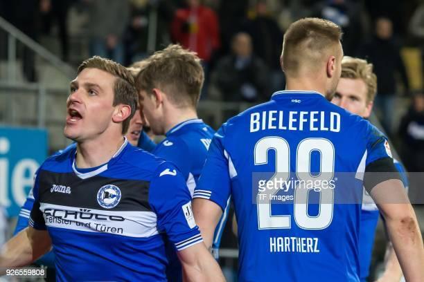 Konstantin Kerschbaumer of Bielefeld celebrates after scoring his team`s first goal with team mates during the Second Bundesliga match between...