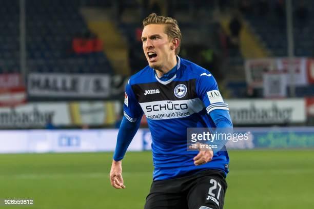 Konstantin Kerschbaumer of Bielefeld celebrates after scoring his team`s first goal during the Second Bundesliga match between Arminia Bielefeld and...