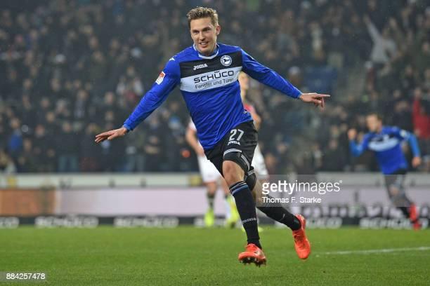 Konstantin Kerschbaumer of Bielefeld celebrates during the Second Bundesliga match between DSC Arminia Bielefeld and FC St Pauli at Schueco Arena on...