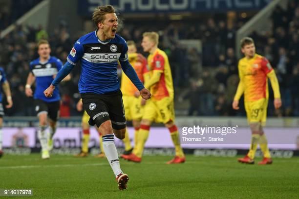 Konstantin Kerschbaumer of Bielefeld celebrates his teams first goal during the Second Bundesliga match between DSC Arminia Bielefeld and 1 FC Union...