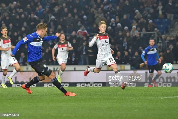 Konstantin Kerschbaumer of Bielefeld scores during the Second Bundesliga match between DSC Arminia Bielefeld and FC St Pauli at Schueco Arena on...
