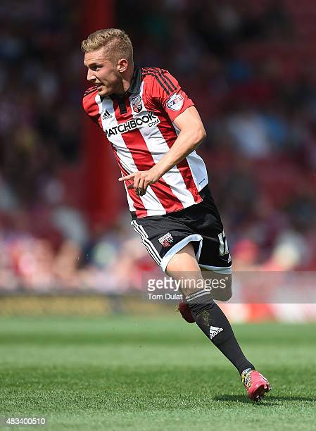 Konstantin Kerschbaumer of Brentford in action during the Sky Bet Championship match between Brentford and Ipswich Town at Griffin Park on August 8...