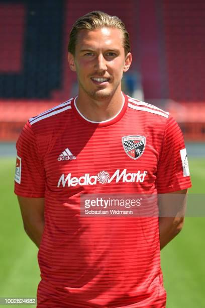 Konstantin Kerschbaumer of FC Ingolstadt poses during the team presentation at Audi Sportpark on July 19 2018 in Ingolstadt Germany