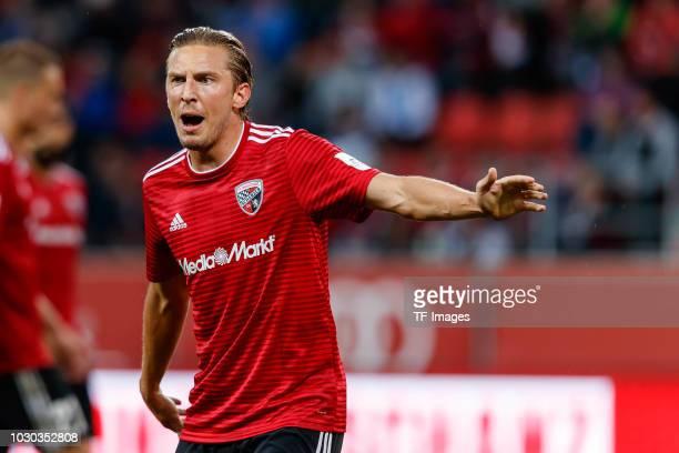 Konstantin Kerschbaumer of Ingolstadt gestures during the second Bundesliga match between FC Ingolstadt 04 and FC Erzgebirge Aue at Audi Sportpark on...