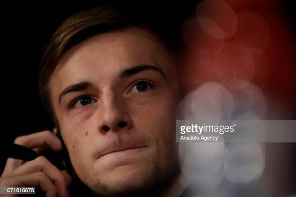 Konstantin Kuchaev of CSKA Moscow holds a press conference ahead of UEFA Champions League Group G football match against Real Madrid at the Santiago...