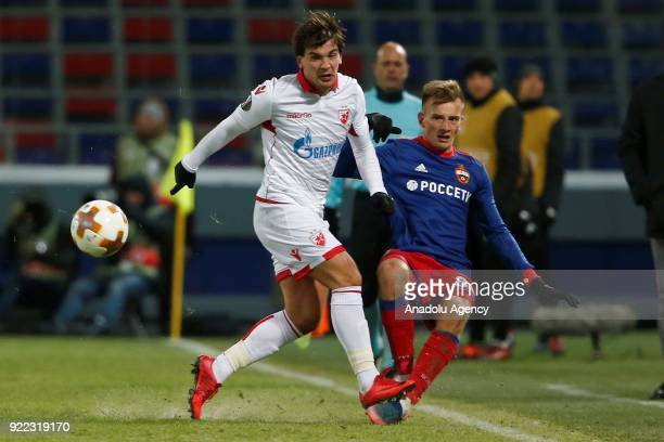 Konstantin Kuchaev of CSKA Moscow in action during the UEFA Europa League round of 32 second leg soccer match between CSKA Moscow and Crvena Zvezda...