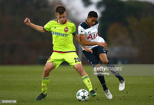 Konstantin Kuchaev of CSKA Moskva and Dylan Duncan of Tottenham Hotspur in action during the UEFA Youth Champions League match between Tottenham...