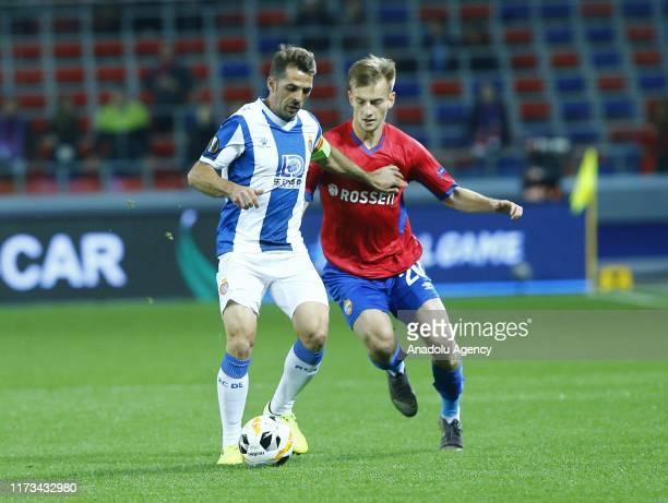 Konstantin Kuchaev of CSKA Moskva vies for the ball during the UEFA Europa League Group H match between CSKA Moskva and Espanyol at CSKA Arena in...