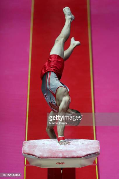 Konstantin Kuzovkov of Georgia competes in Vault during the Men's Gymnastics Final on Day Eleven of the European Championships Glasgow 2018 at The...