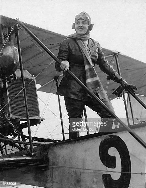 Konstantin Leopoldine Actress Austria *12031886 standing in a biplane cockpit wearing aviator clothing and pilot glasses 1916 Photographer Zander...