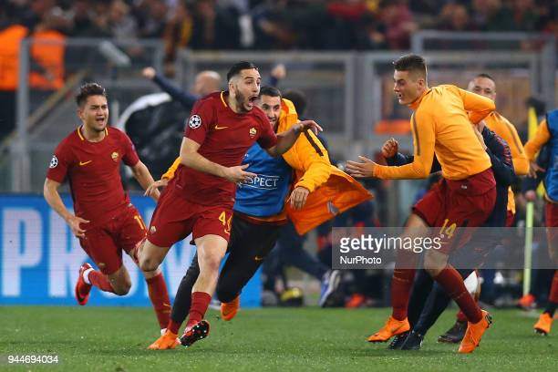 Konstantin Manolas of Roma celebrates with the teamates after the decisive goal scored at Olimpico Stadium in Rome Italy on April 10 during UEFA...