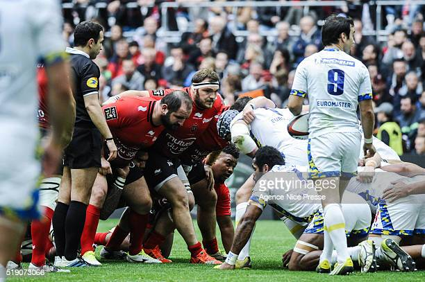 Konstantin MIKAUTADZE and Jean Charles ORIOLI of Toulon during the French Top 14 rugby union match between RC Toulon v Clermont Auvergne at on April...