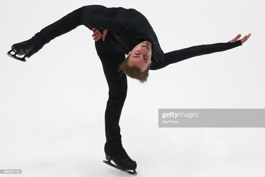 Konstantin Milyukov performs his short program in the men's competition at the Russian Figure Skating Championships in St. Petersburg, Russia, on 21 December 2017.