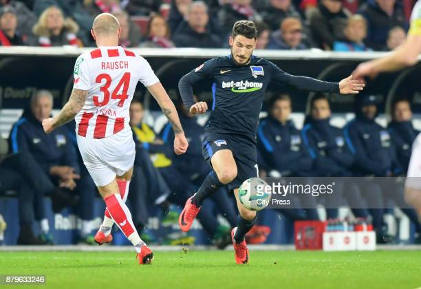 Konstantin Rausch of 1 FC Koeln and Mathew Leckie of Hertha BSC during the game between 1 FC Koeln and Hertha BSC on November 26 2017 in Koeln Germany