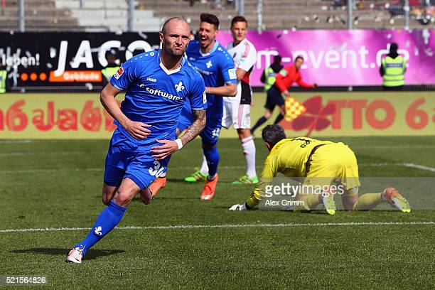 Konstantin Rausch of Darmstadt celebrates his team's first goal during the Bundesliga match between SV Darmstadt 98 and FC Ingolstadt at MerckStadion...