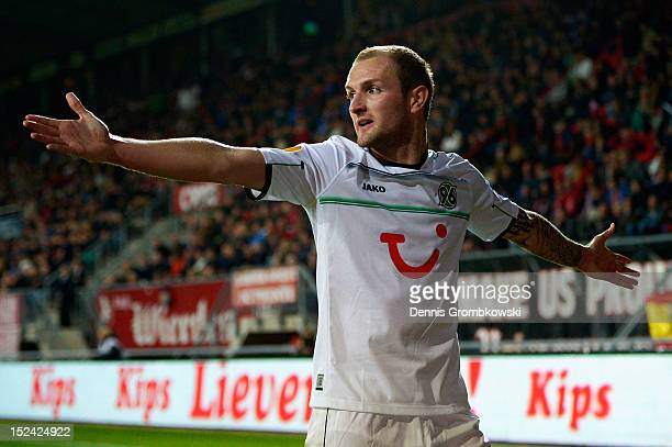 Konstantin Rausch of Hannover celebrates his team's second goal during the UEFA Europa League Group L match between Twente Enschede and Hannover 96...