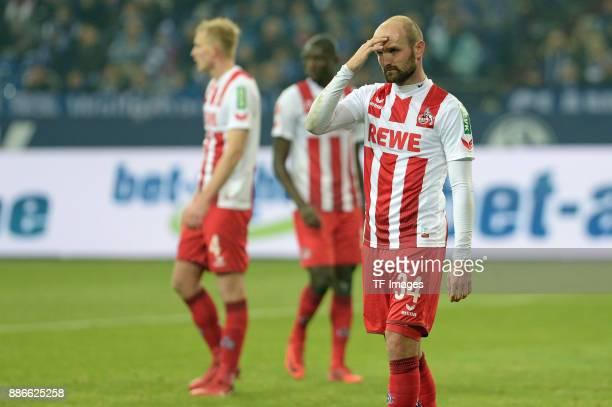 Konstantin Rausch of Koeln gestures during the Bundesliga match between FC Schalke 04 and 1 FC Koeln Bundesliga at VeltinsArena on December 2 2017 in...