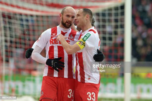 Konstantin Rausch of Koeln speaks with Matthias Lehmann of Koeln during the Bundesliga match between 1 FC Koeln and SportClub Freiburg at...