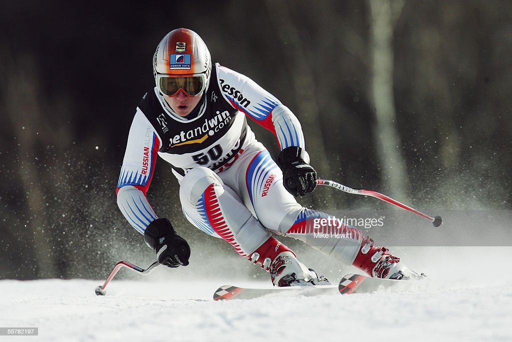 Konstantin Sats of Russia in action during the Men's Super-G at the FIS Alpine World Ski Championships on January 29, 2005 in Bormio, Italy.