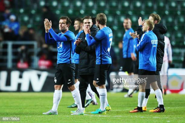Konstantin Vassilijev of Estonia thanks the crowd after international friendly between Estonia and Croatia at A le Coq Arena on March 28 2017 in...