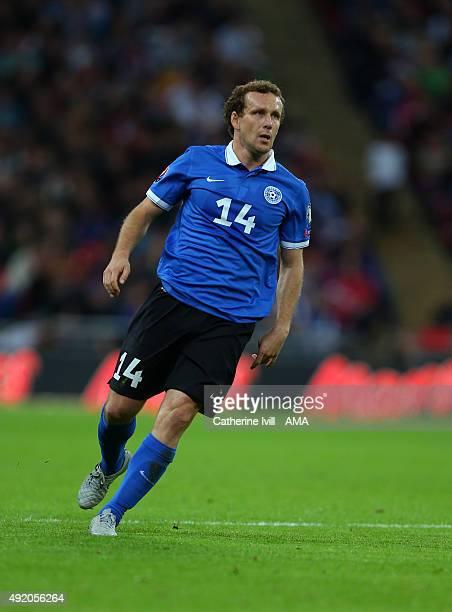 Konstantin Vassiljev of Estonia during the UEFA EURO 2016 Qualifier match between England and Estonia at Wembley Stadium on October 9 2015 in London...