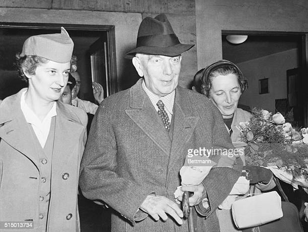 Konstantin Von Neurath Adolph Hitler's 'protector' of Bohemia and Moravia in World War II now 81 years old is shown with is daughter Mrs Winfred Von...