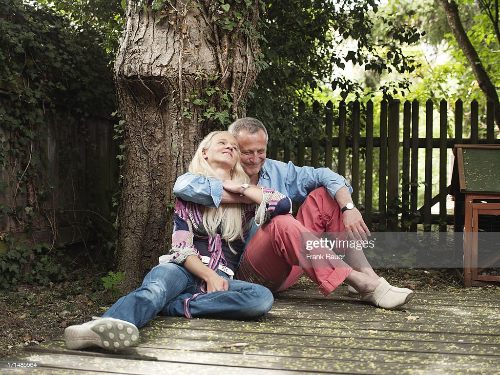 Konstantin Wecker and his wife Annik hug during a private photo session on June 3, 2008 in Munich, Germany.