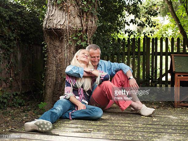 Konstantin Wecker and his wife Annik hug during a private photo session on June 3 2008 in Munich Germany
