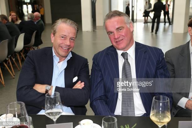 Konstantin Wettig and Alexander Freiherr von Cramm during the Gentlemen Art Lunch at Pinakothek der Moderne on March 13 2017 in Munich Germany