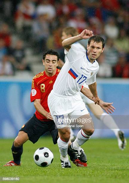 Konstantin Zyryanov of Russia in action during the UEFA EURO 2008 Group D match between Spain and Russia at Stadion Tivoli Neu on June 10, 2008 in...