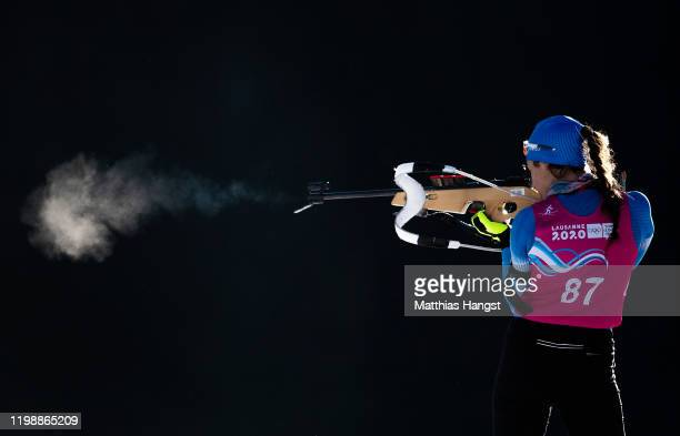 Konstantina Charalampidou of Greece warms up on the shooting range prior to the start of the Women's 10km Individual race in Biathlon during day 2 of...