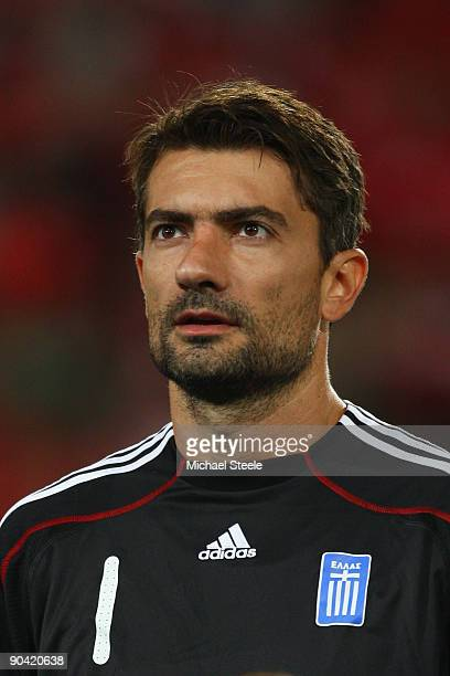Konstantinos Chalkias of Greece during the FIFA 2010 World Cup Qualifying Group 2 match between Switzerland and Greece at the StJakobPark Stadium on...