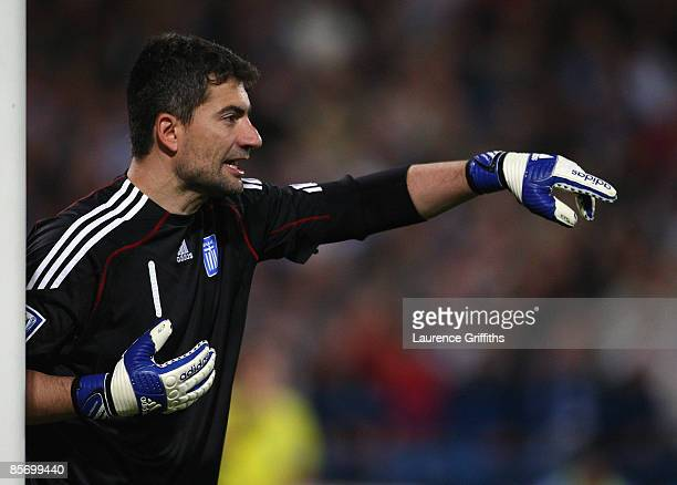 Konstantinos Chalkias of Greece in action duing the FIFA 2010 World Cup Qualifier between Israel and Greece at The Ramat Gan National Stadium on...