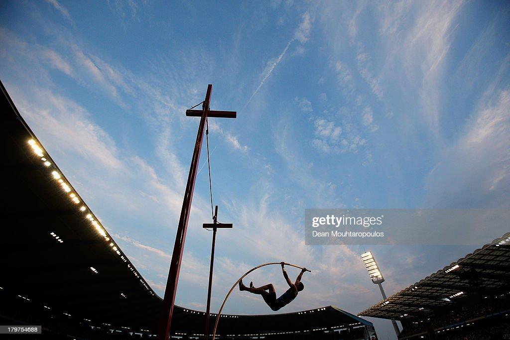 Konstantinos Filippidis of Greece competes in the Pole Vault Men during the 2013 Belgacom Memorial Van Damme IAAF Diamond League meet at The King Baudouin Stadium on September 6, 2013 in Brussels, Belgium.
