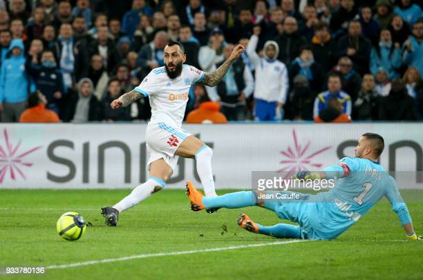 Konstantinos Kostas Mitroglou of OM goalkeeper of Lyon Anthony Lopes during the French Ligue 1 match between Olympique de Marseille OM and Olympique...