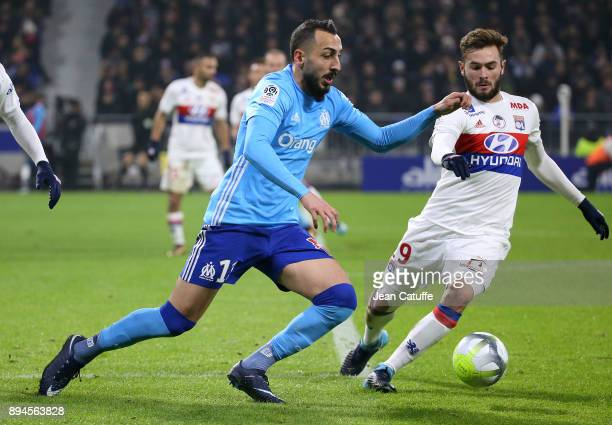 Konstantinos Kostas Mitroglou of OM Lucas Tousart of Lyon during the French Ligue 1 match between Olympique Lyonnais and Olympique de Marseille at...