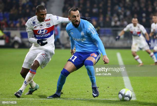 Konstantinos Kostas Mitroglou of OM Marcelo Guedes of Lyon during the French Ligue 1 match between Olympique Lyonnais and Olympique de Marseille at...