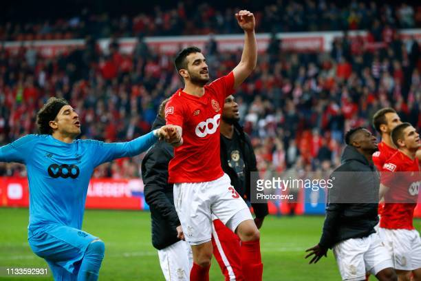 Konstantinos Laifis defender of Standard Liege and Guillermo Ochoa Magana goalkeeper of Standard Liege Standard Liege celebrates during the Jupiler...